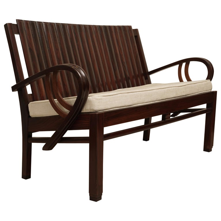 Art Deco Rosewood Loveseat with Cushion For Sale