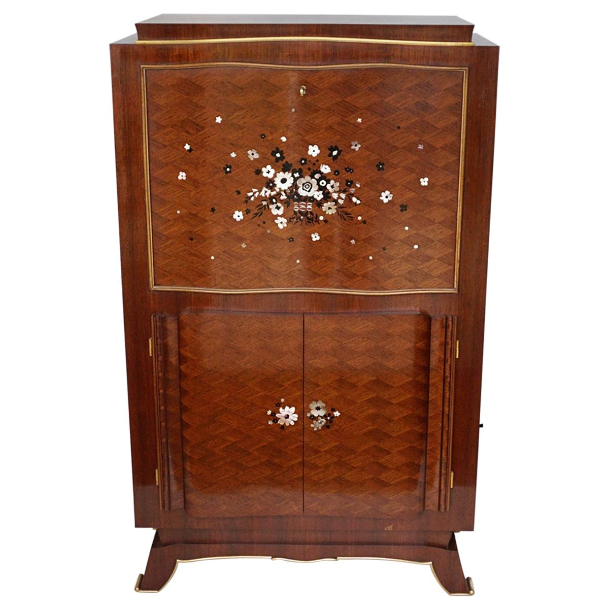 Art Deco Rosewood Marquetry Cocktail Cabinet by Jules Leleu