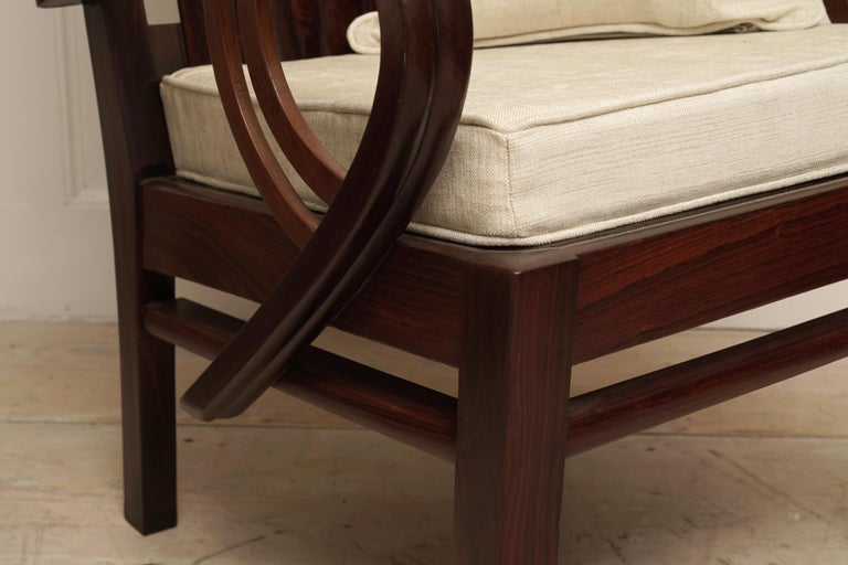20th Century Art Deco Rosewood Pair of Chairs with Cushion For Sale