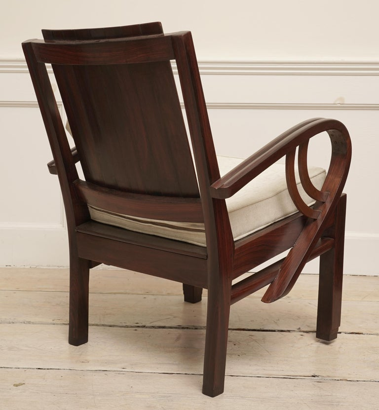 Art Deco Rosewood Pair of Chairs with Cushion For Sale 1