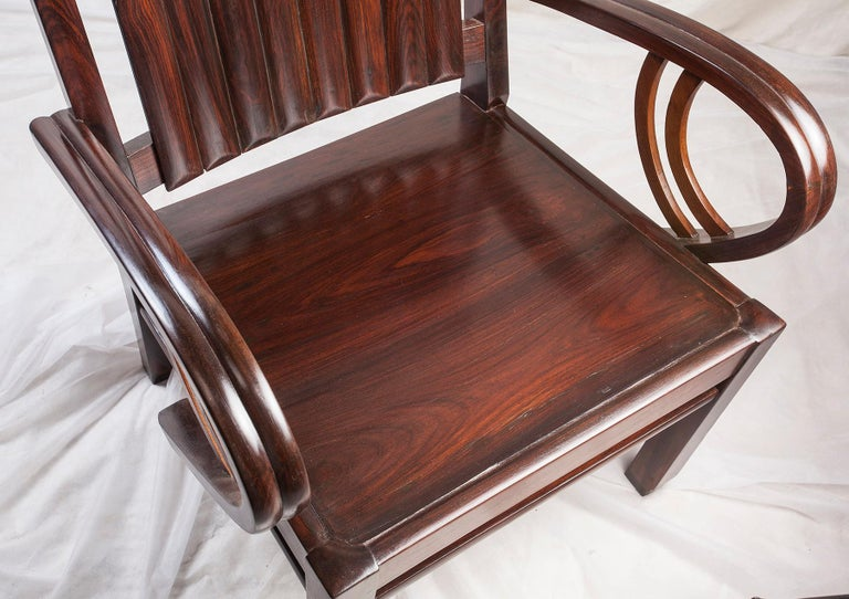 Art Deco Rosewood Pair of Chairs with Cushion For Sale 4