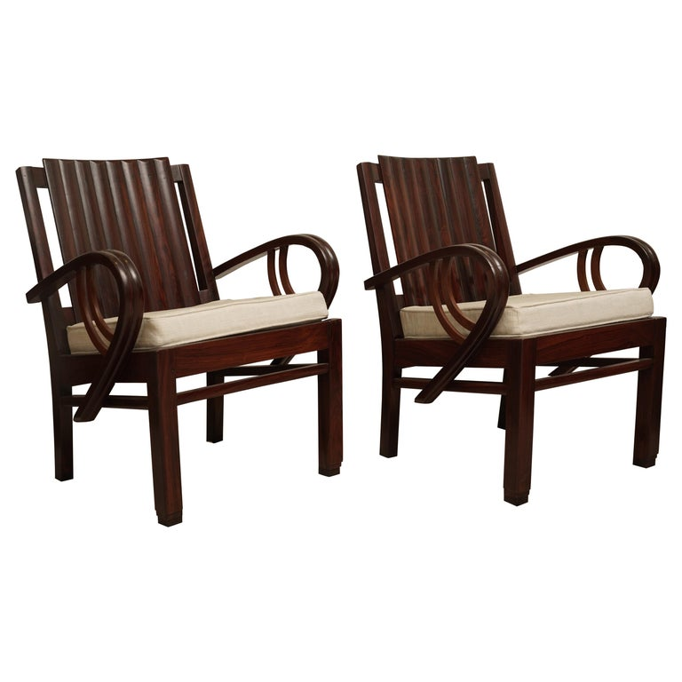 Art Deco Rosewood Pair of Chairs with Cushion For Sale
