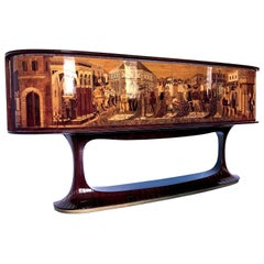 Art Deco Rosewood Sideboard by Vittorio Dassi with Big Inlaid Scene, 1950s