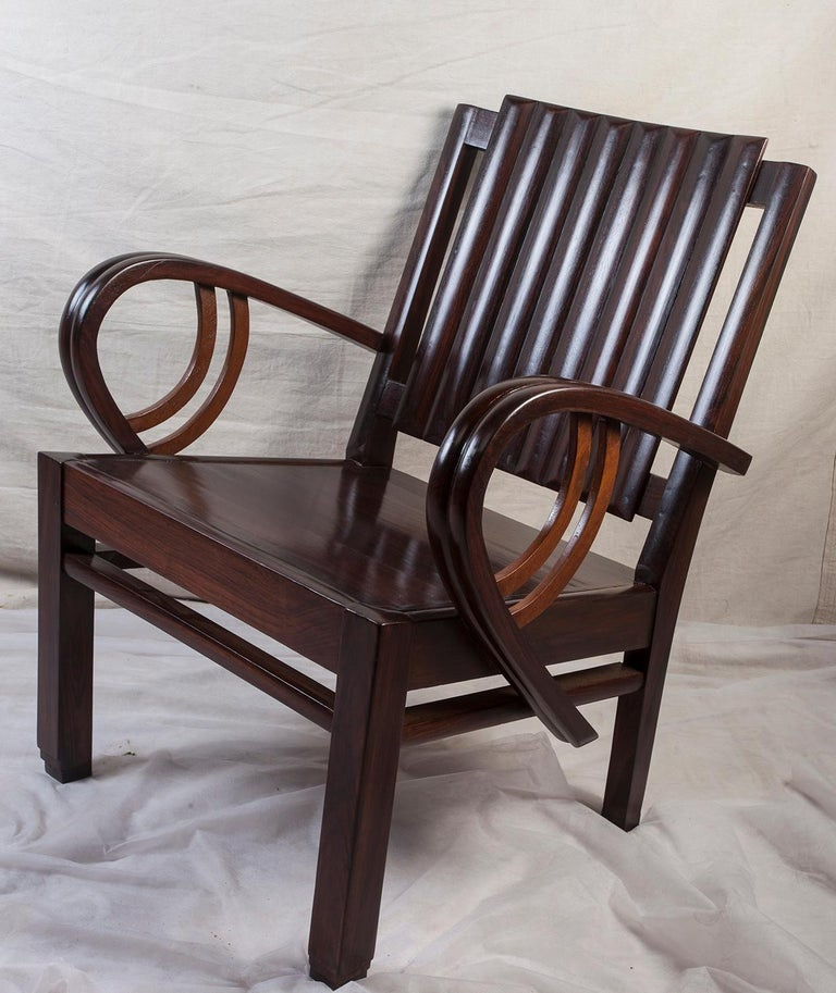 Art Deco Rosewood Living Room Set of Loveseat and Pair of Chairs with Cushions For Sale 2