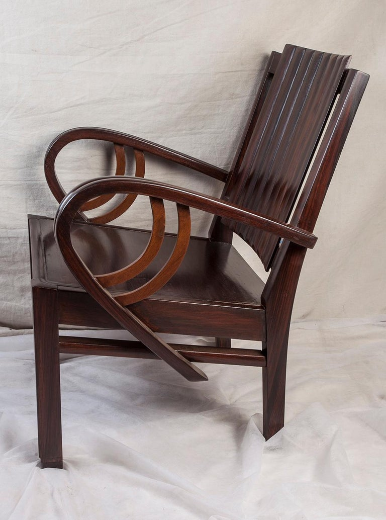 Art Deco Rosewood Living Room Set of Loveseat and Pair of Chairs with Cushions For Sale 3