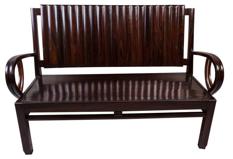 Art Deco Rosewood Living Room Set of Loveseat and Pair of Chairs with Cushions For Sale 5