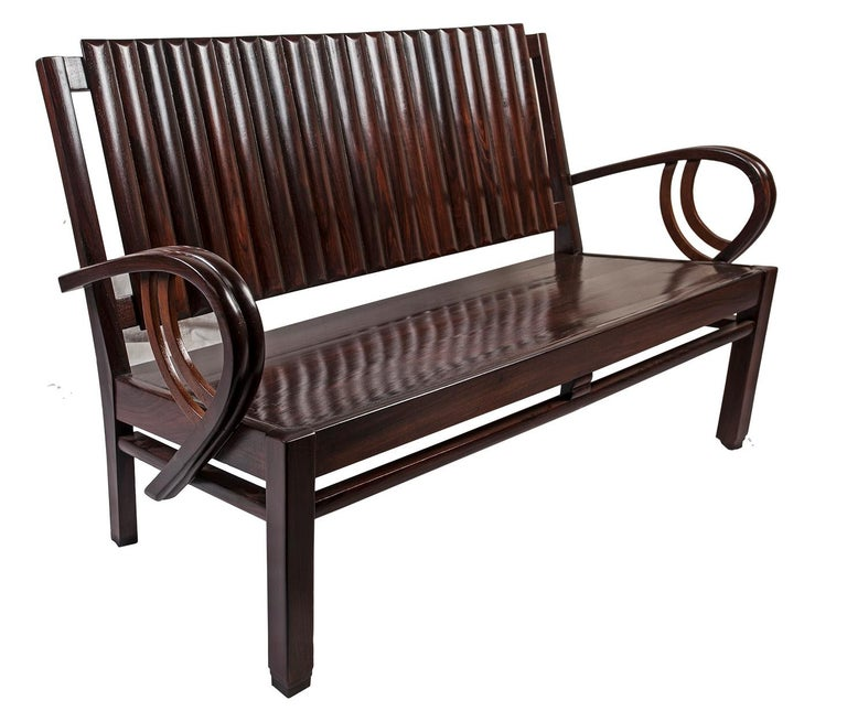 Art Deco Rosewood Living Room Set of Loveseat and Pair of Chairs with Cushions For Sale 6