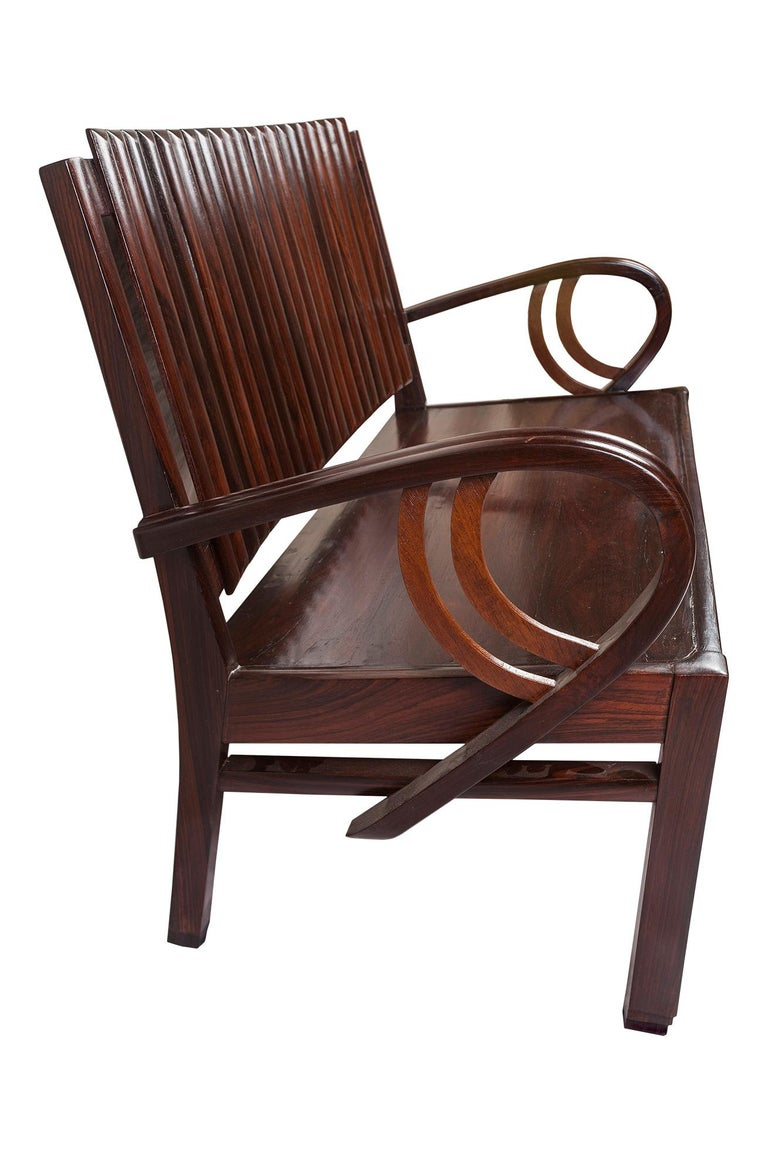Art Deco Rosewood Living Room Set of Loveseat and Pair of Chairs with Cushions For Sale 7
