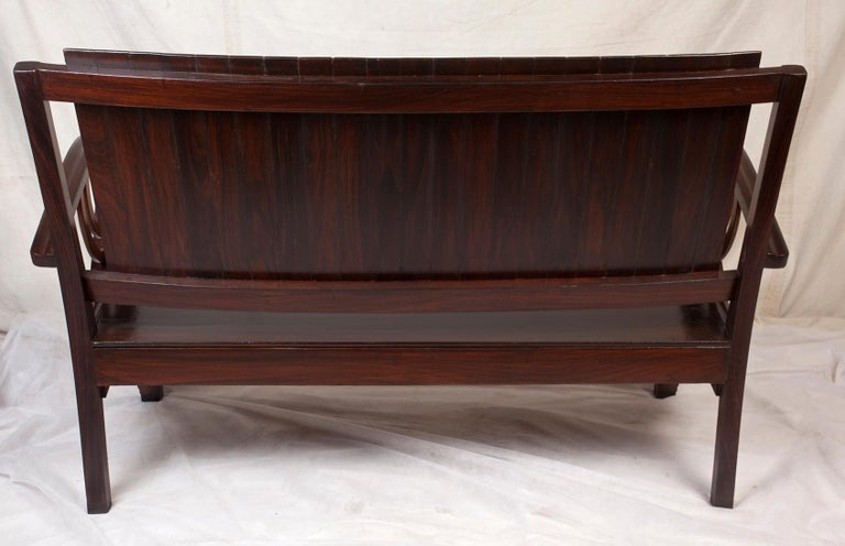 Art Deco Rosewood Living Room Set of Loveseat and Pair of Chairs with Cushions For Sale 8