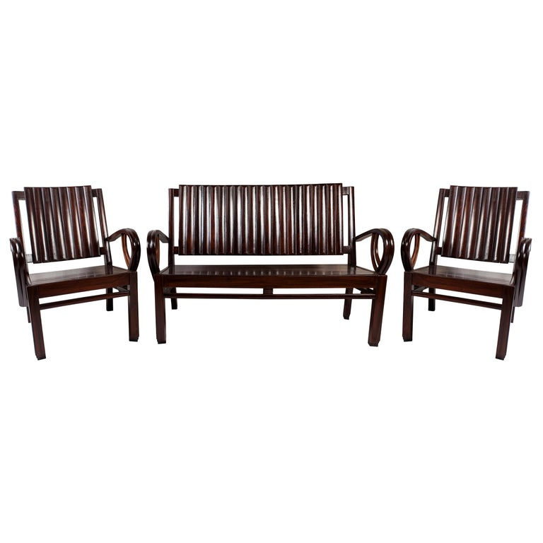 Art Deco Rosewood Living Room Set of Loveseat and Pair of Chairs with Cushions For Sale