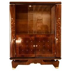 Art Deco Rosewood Vitrine Style of J. Leleu, Lemon Wood and Mother Pearl Inlayed