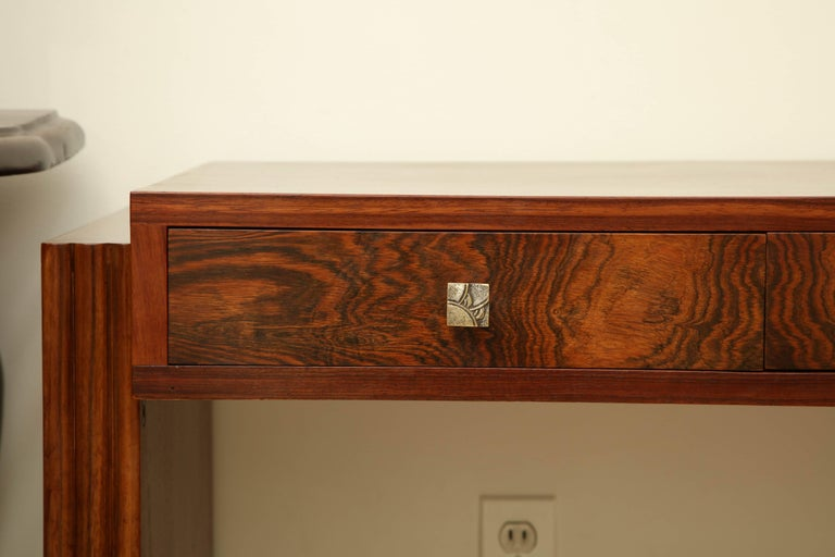Art Deco Rosewood Writing Table with Two Drawers, France, circa 1940s In Excellent Condition For Sale In New York, NY