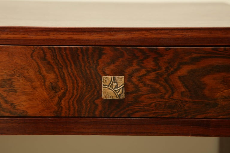 Mid-20th Century Art Deco Rosewood Writing Table with Two Drawers, France, circa 1940s For Sale
