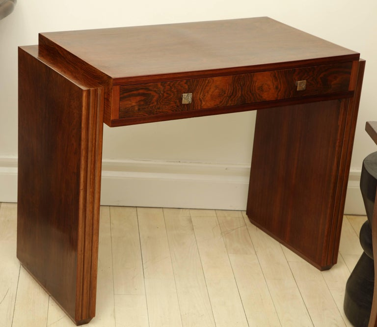 Art Deco Rosewood Writing Table with Two Drawers, France, circa 1940s For Sale 3
