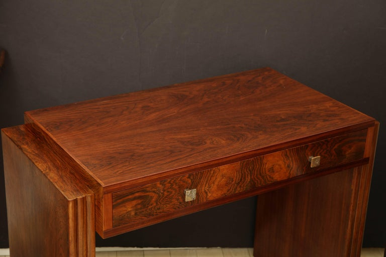 Art Deco Rosewood Writing Table with Two Drawers, France, circa 1940s For Sale 4