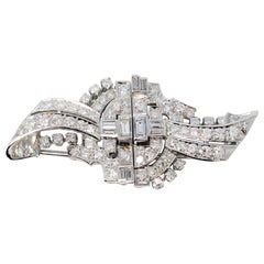 Art Deco Round and Baguette 3.57 Carat Pave Diamond Clips and Brooch in Platinum