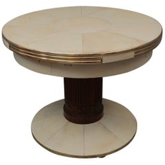 Art Deco Round Ash Brass and Goatskin Openable Table, 1920