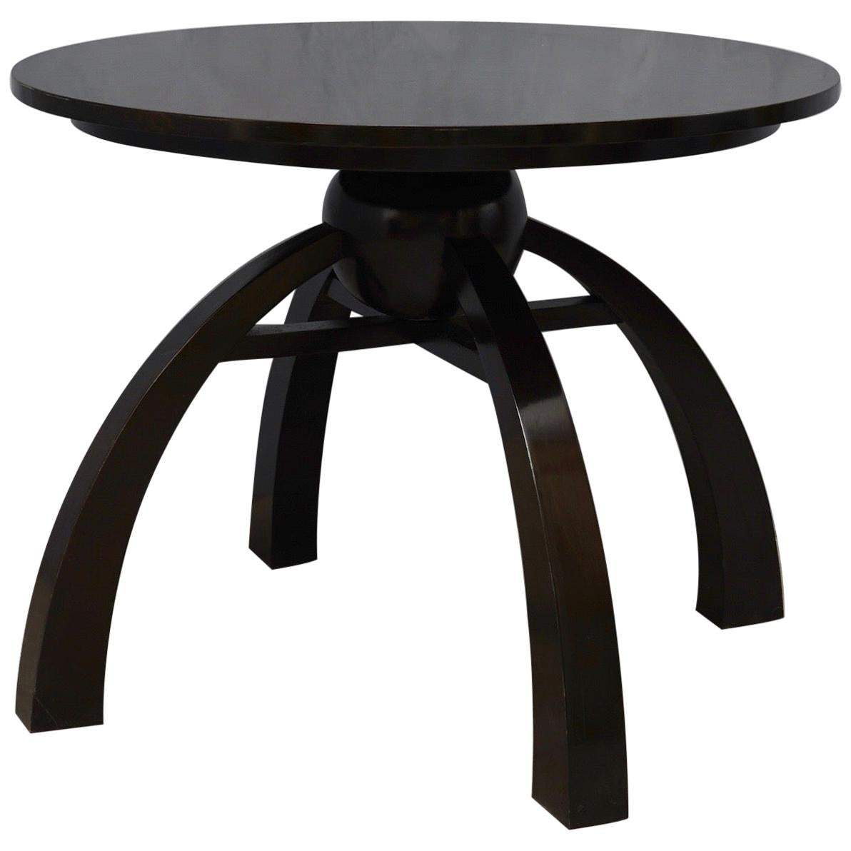 Art Deco Round Black Shellac Italian Side Table, 1930