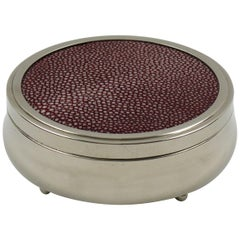 Art Deco Round Box Chrome and Red Shagreen
