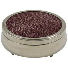 Art Deco Round Box Chrome Red Shagreen