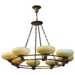 Art Deco Round Brass and Opal Glass Chandelier, Attributed to Kaiser, Germany