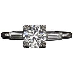 Art Deco Round Brilliant Cut 1 Carat Diamond Solitaire Ring