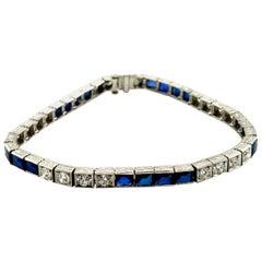 Art Deco Round Brilliant Diamond and Synthetic Sapphire Line Bracelet