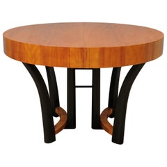 Art Deco Round Cherrywood Italian Dinning Table, 1940