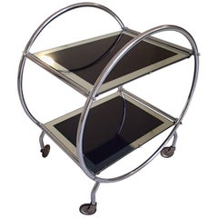 Art Deco Round Chrome Trolley with Black and Silver Glass