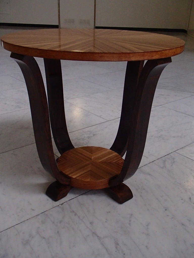 Art Deco round coffee or side table zebrano inlay.