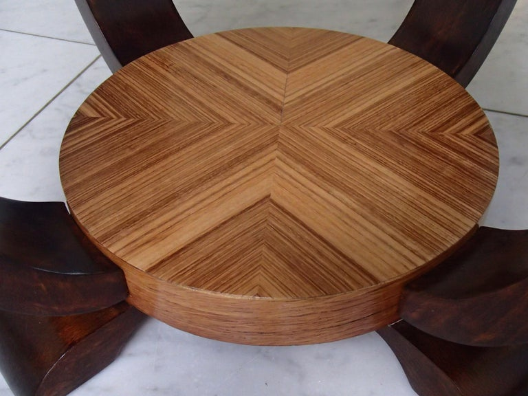 French Art Deco Round Coffee or Side Table Zebrano Inlay For Sale