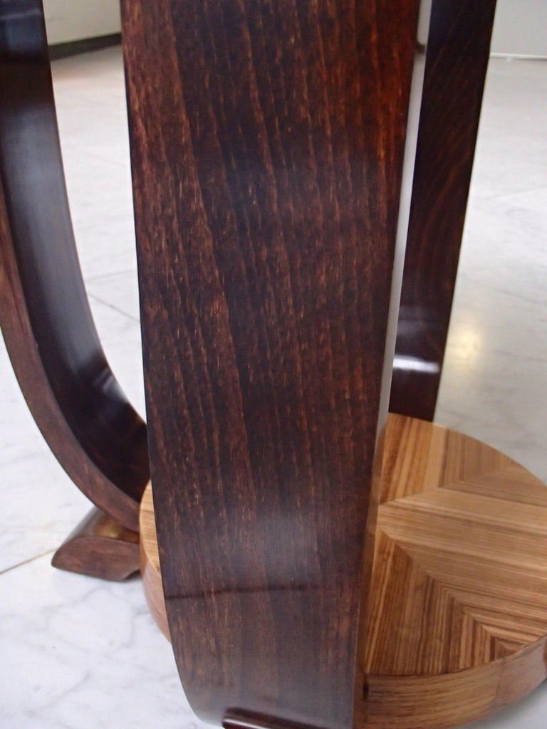 Birch Art Deco Round Coffee or Side Table Zebrano Inlay For Sale