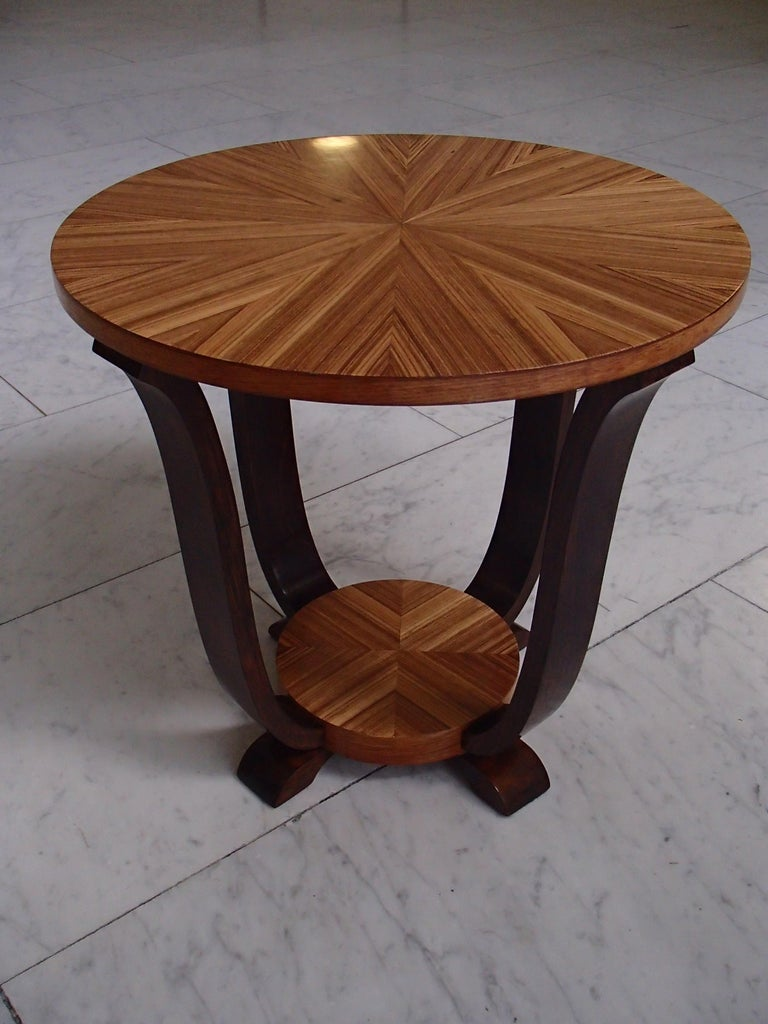 Art Deco Round Coffee or Side Table Zebrano Inlay For Sale 2