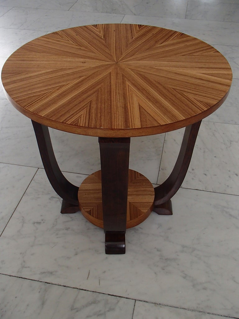 Art Deco Round Coffee or Side Table Zebrano Inlay For Sale 3
