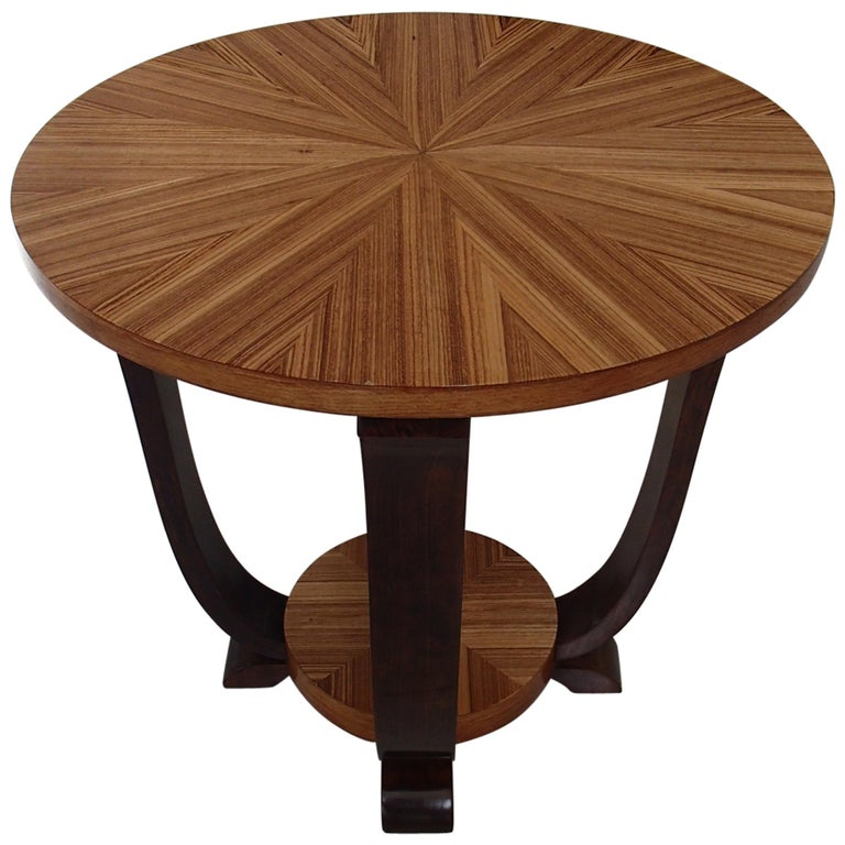 Art Deco Round Coffee or Side Table Zebrano Inlay For Sale