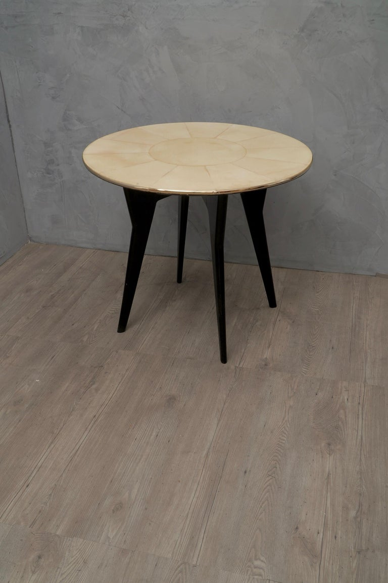 Art Deco Round Goatskin Card and Tea Table, 1940 For Sale 5