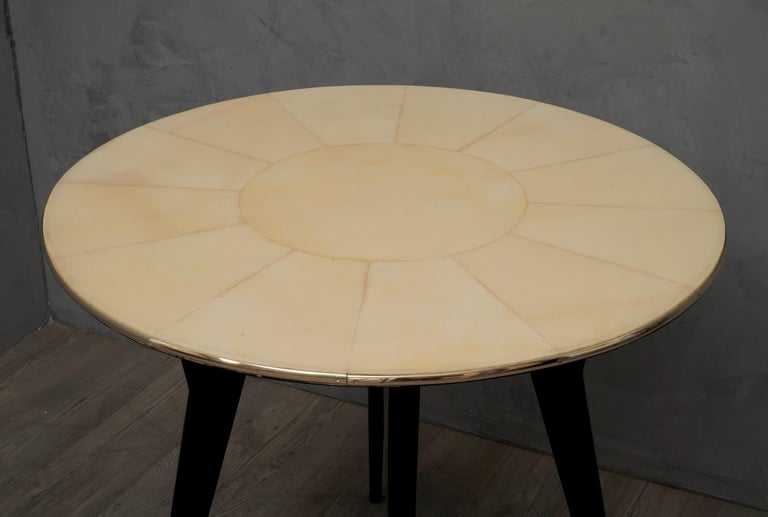 Mid-20th Century Art Deco Round Goatskin Card and Tea Table, 1940 For Sale