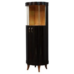 Art Deco Round Macassar Ebony French Dry Bar, 1940