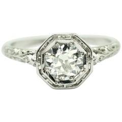 Art Deco Style Round Old European Cut Diamond Ring in Filigree Setting