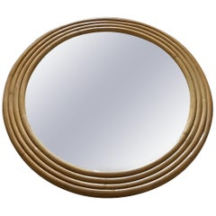Art Deco Round or Circular Wall Mirror in 4-Strand Bamboo, 1940s