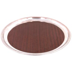 Art Deco Round Silver Plated Tray with Faux Rosewood Laminate