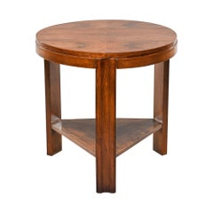 Art Deco Round Walnut Side or Center Table