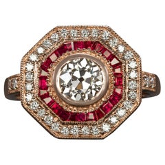 Art Deco Style Rubies Diamond Double Halo Cocktail Ring