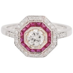 Art Deco Rubies Diamonds 18 Karat White Gold Ring