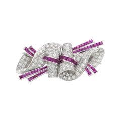 Art Deco Rubies & Diamonds Double Clip Pin