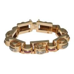 Art Deco Ruby, Diamond 18 Carat Gold Tank Bracelet