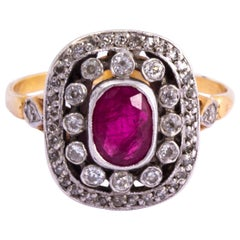 Art Deco Ruby and Diamond 15 Carat Gold and Platinum Panel Ring