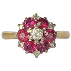 Art Deco Ruby and Diamond 18 Carat Gold Cluster Ring