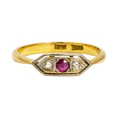 Art Deco Ruby and Diamond 18 Carat Gold Three-Stone Ring