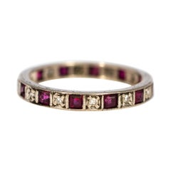 Art Deco Ruby and Diamond 18 Carat White Gold Eternity Band